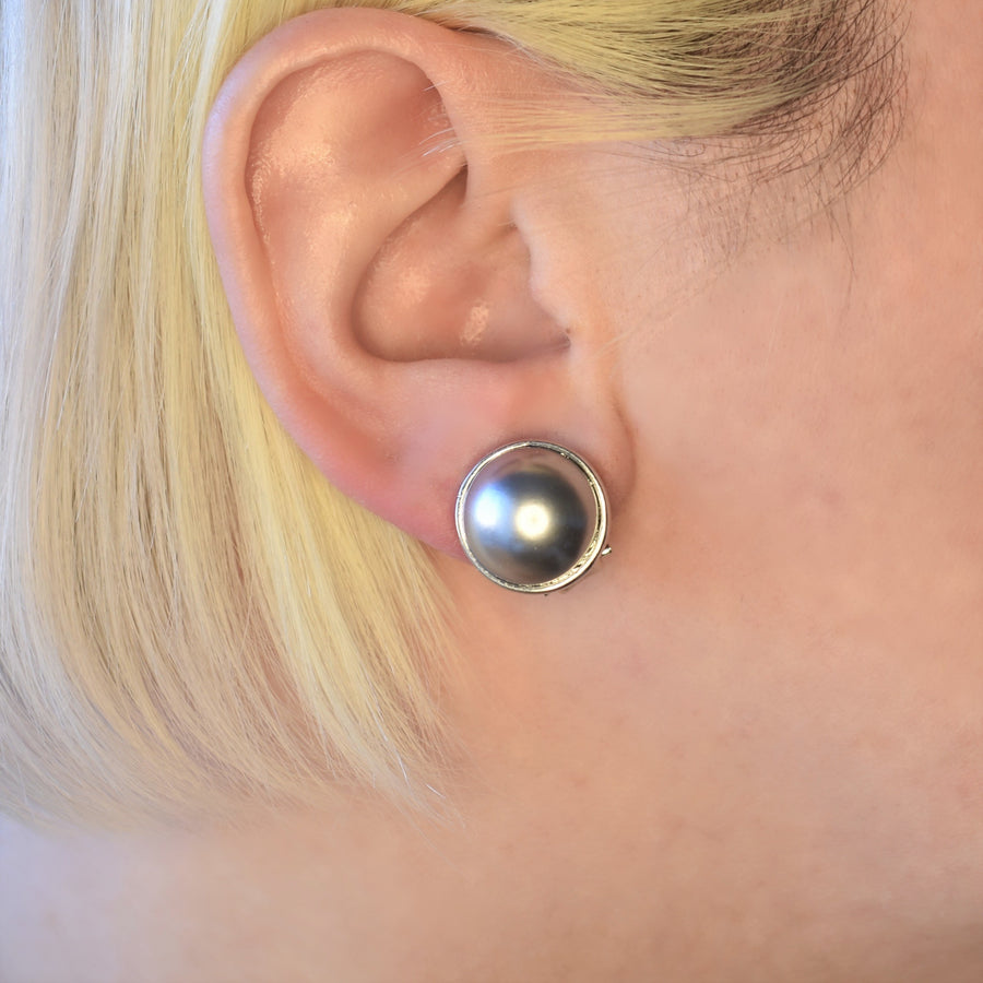 Mallorca Pearl Pierced Earrings | 16mm blue gray pearls | rhodium plated leverback closure | 1 Pair
