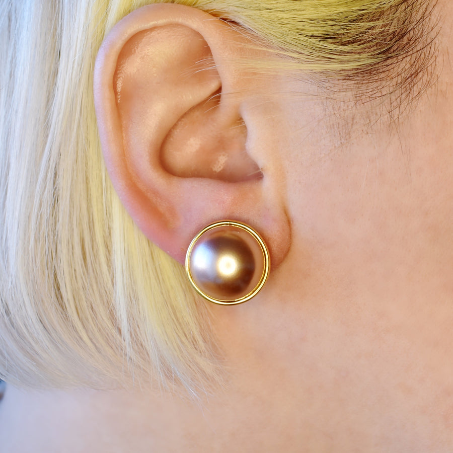 Mallorca Pearl Pierced Earrings | 16mm pink pearl | gold plated leverback closure | 1 Pair