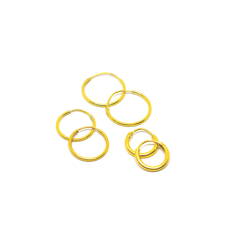 Sterling Silver Earrings | Mini Hoops | 22k Gold Plated | 3 Pairs