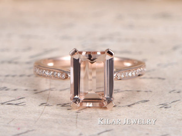 Emerald Cut Morganite Ring 14k Rose Gold Morganite Engagement Wedding Ring Diamonds Pave Engagement Ring Valentine Gift For Her Kilar Jewelry