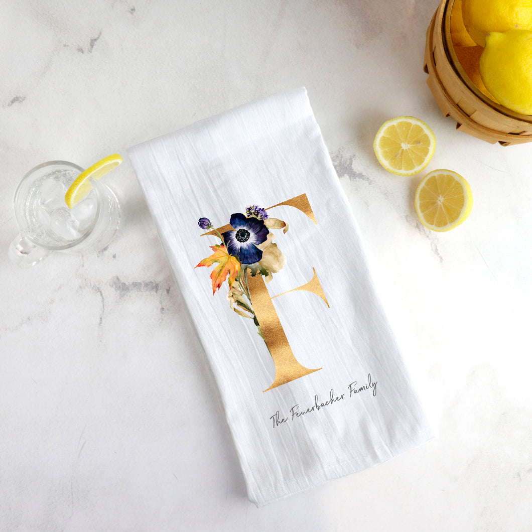 Flour Sack Tea Towel ~ Fall Monogram