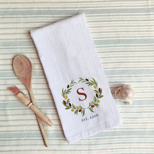 Flour Sack Tea Towel ~ Wreath