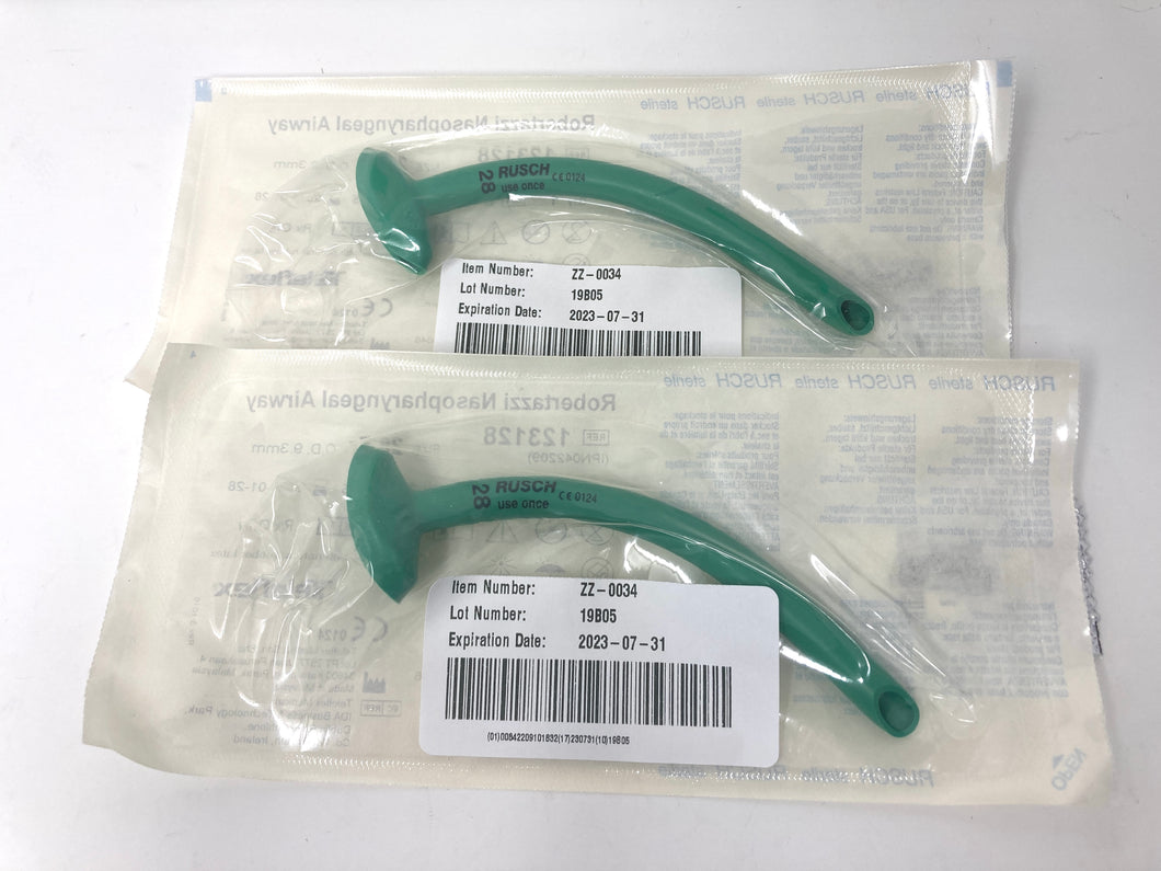 Rusch® Robertazzi Nasopharyngeal Airway- 28FR- Lot of 2