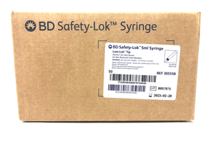 Becton, Dickinson 5ml Safety-Lok Syringe Box of 50