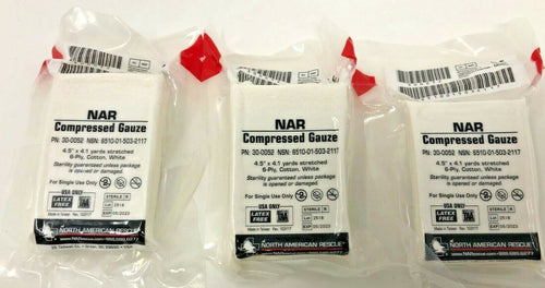 Three North American Rescue Compressed Gauze-current dates