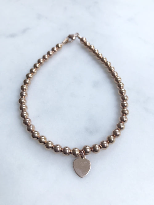 Rose Gold Heart Tag Keepsake Bracelet