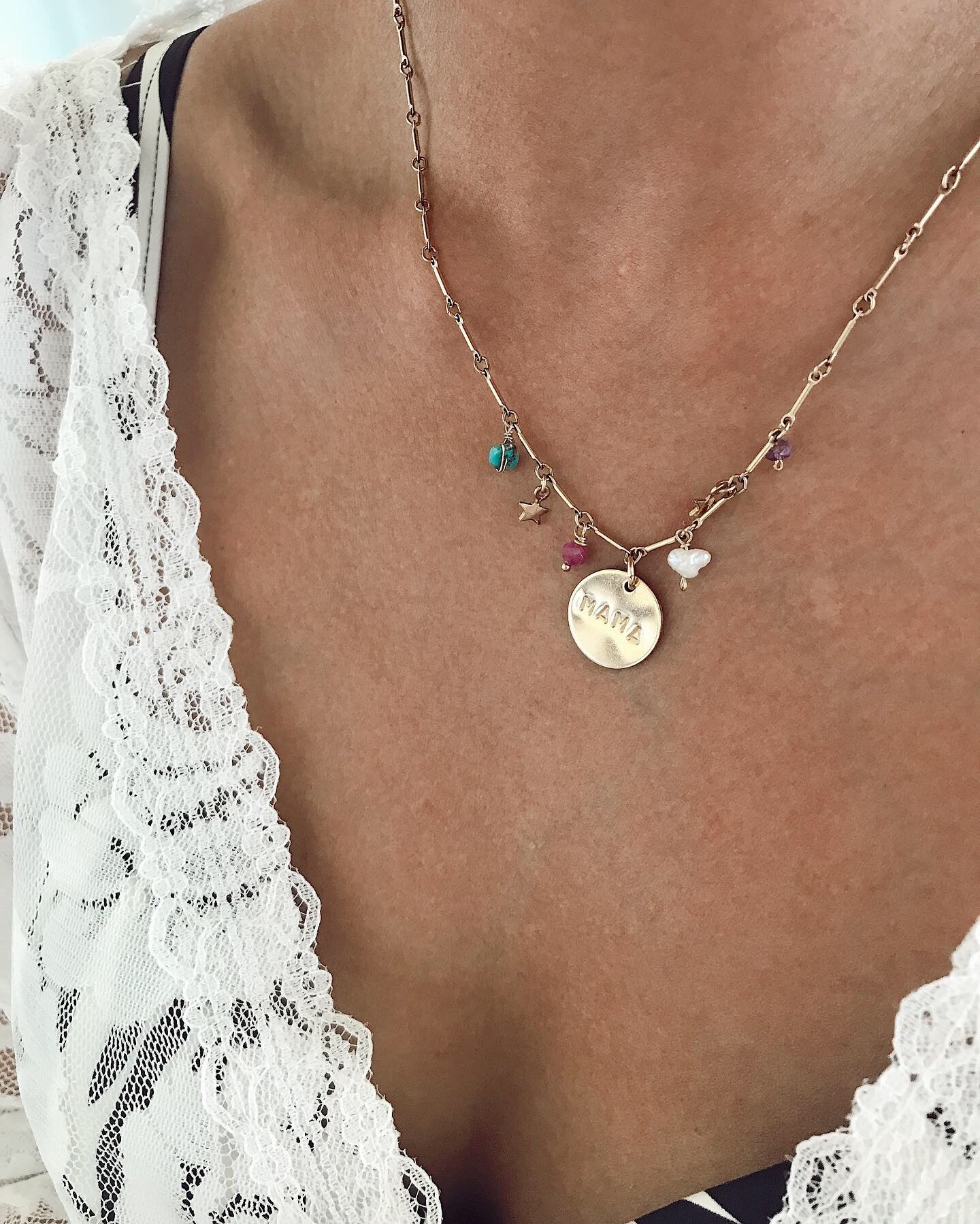 Birthstone Mama Disc Necklace