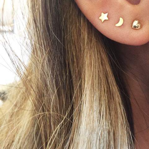 Moon and Star Stud Earrings