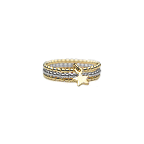 Gold and Silver Trio Star Stack Ring