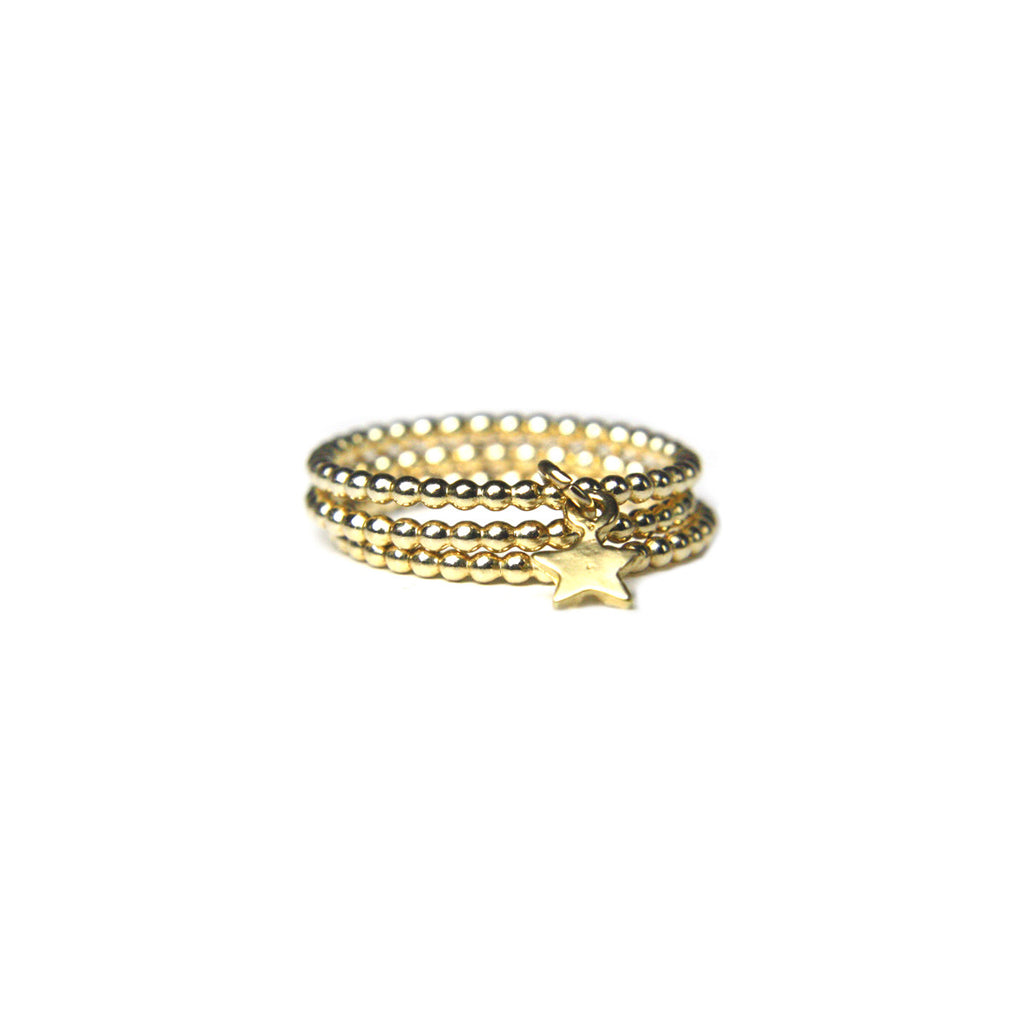 Gold Trio Star Stack Ring