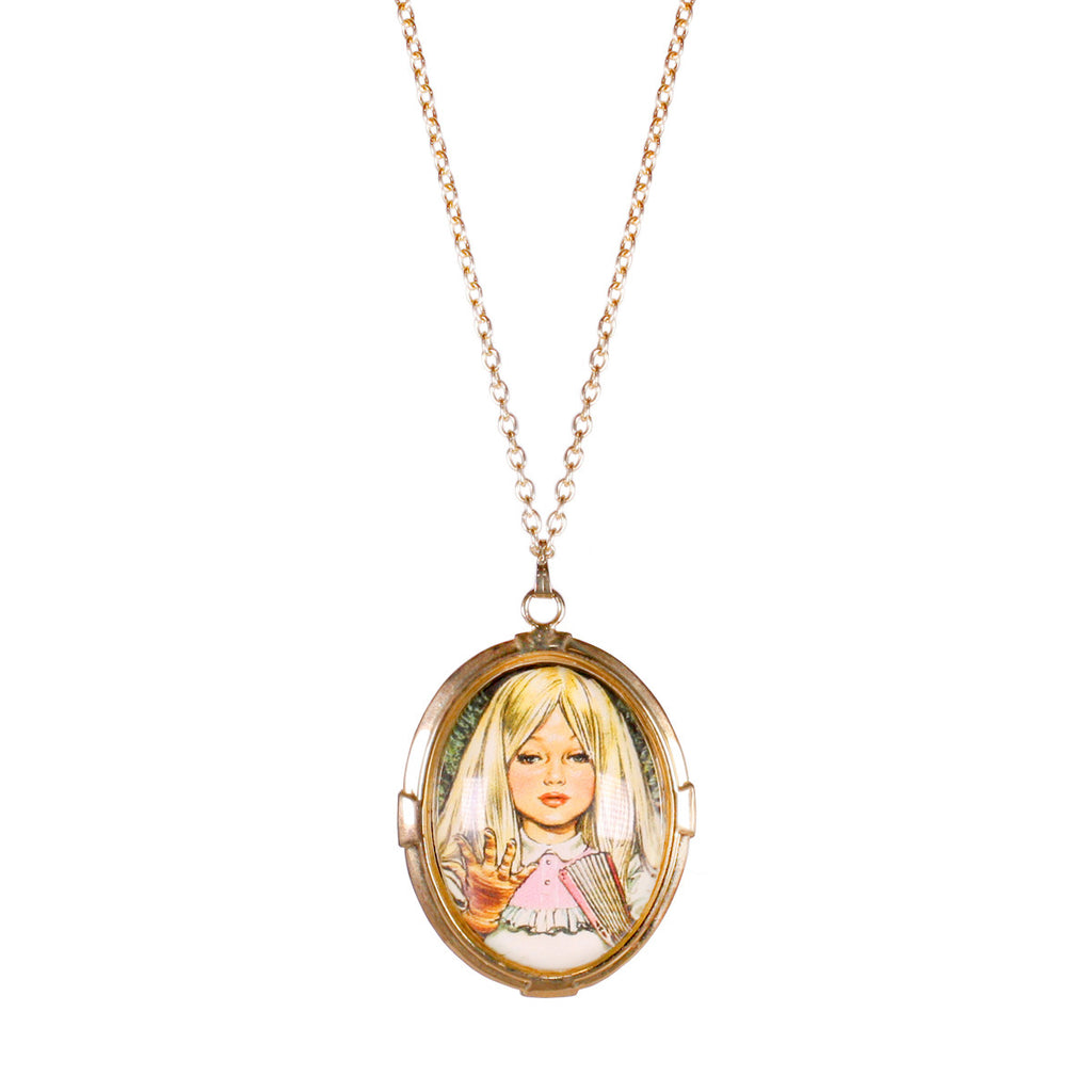 Girl Pendant Necklace - Vintage