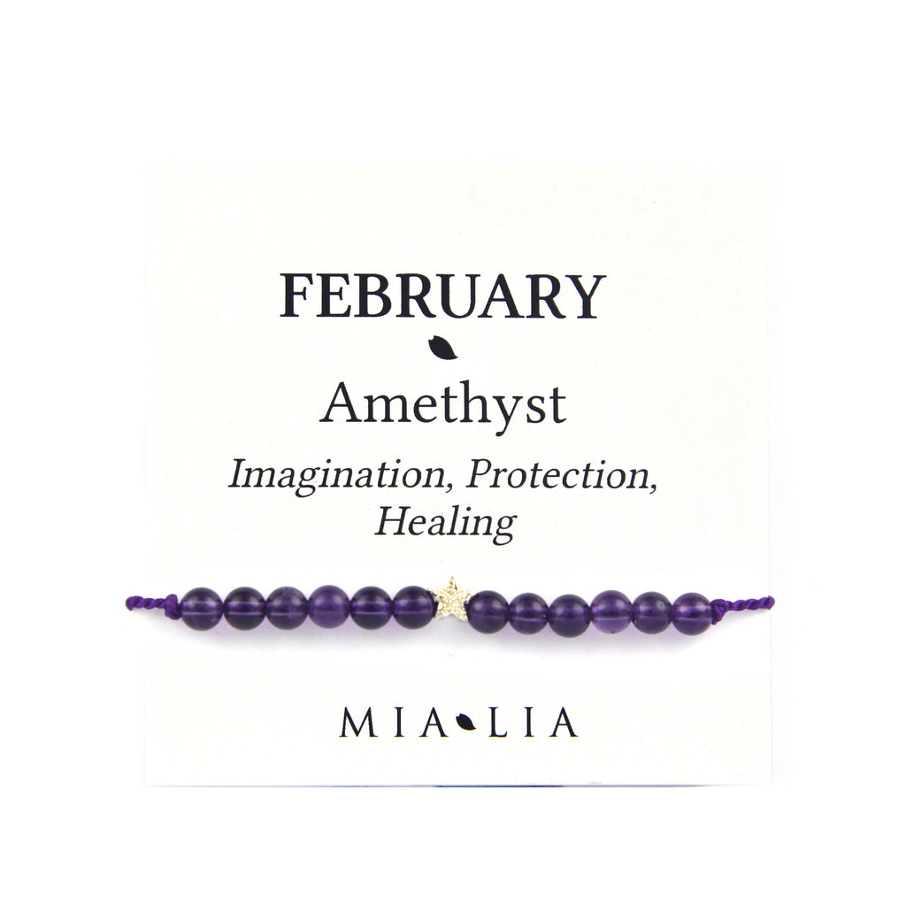 Birthstone Friendship Bracelet - February