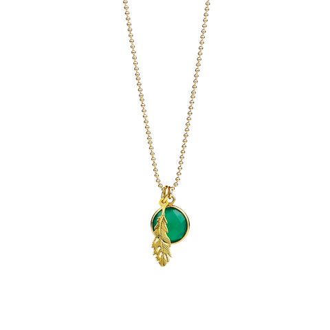 Green Feather Pendant Necklace