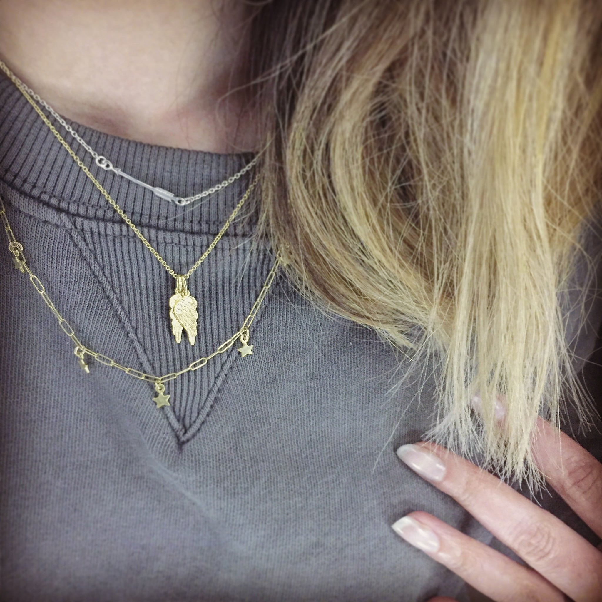 Gold Hermes Double Wings Necklace