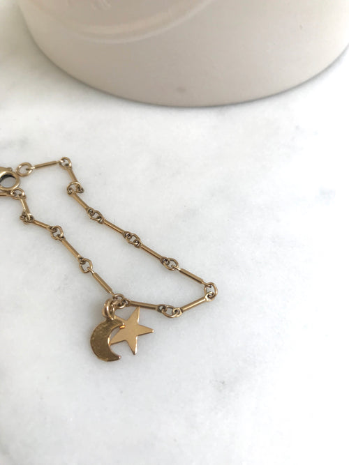 Moon and Star Bar Link Bracelet