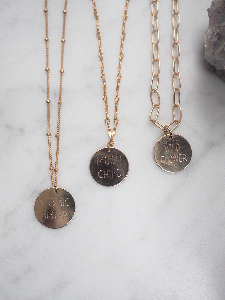 Engraved Round Disc Necklace
