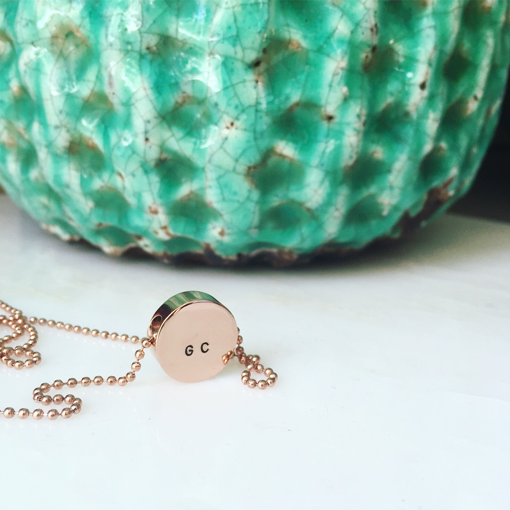 Initials Coin Pendant Necklace