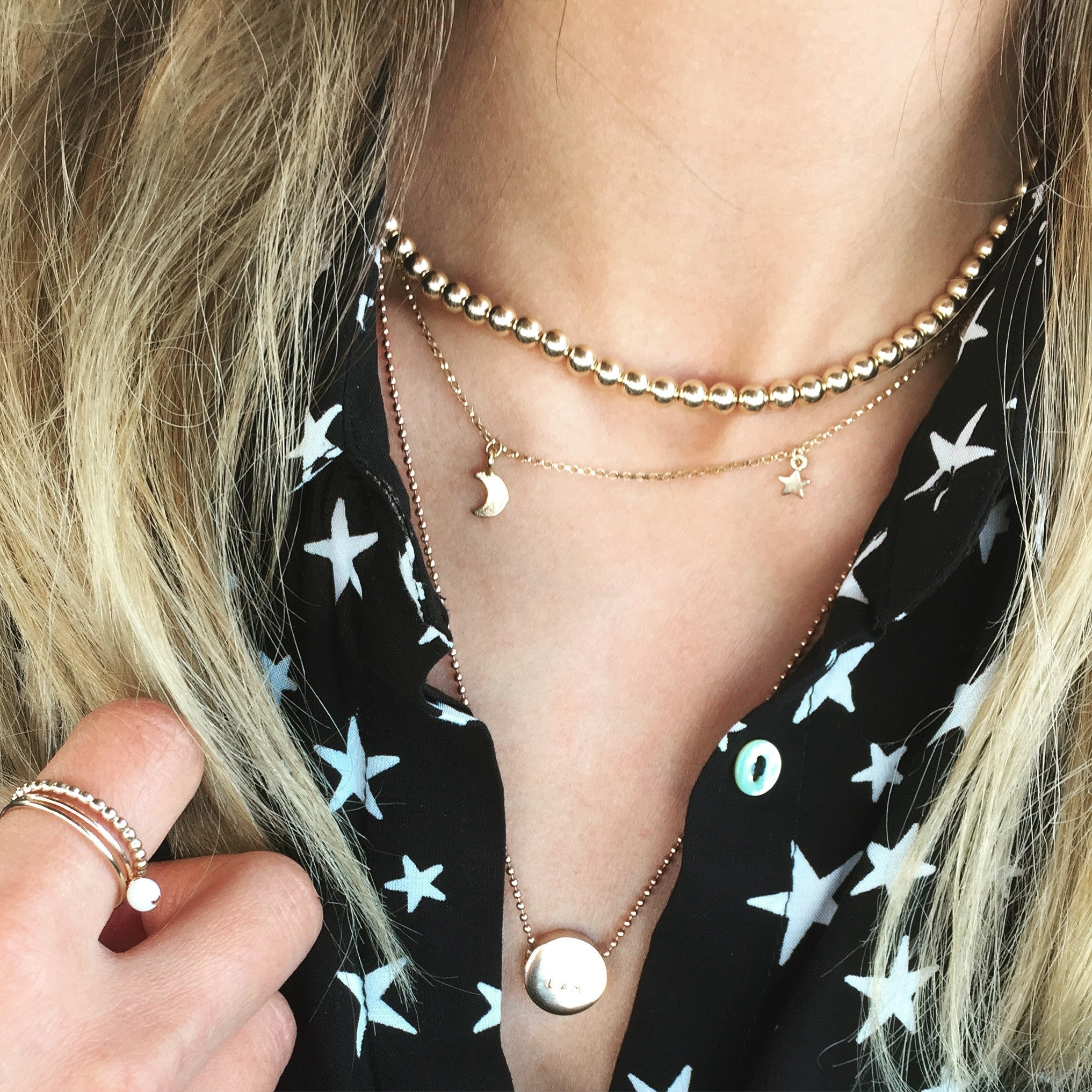 'To The Moon & Stars' Gold Necklace