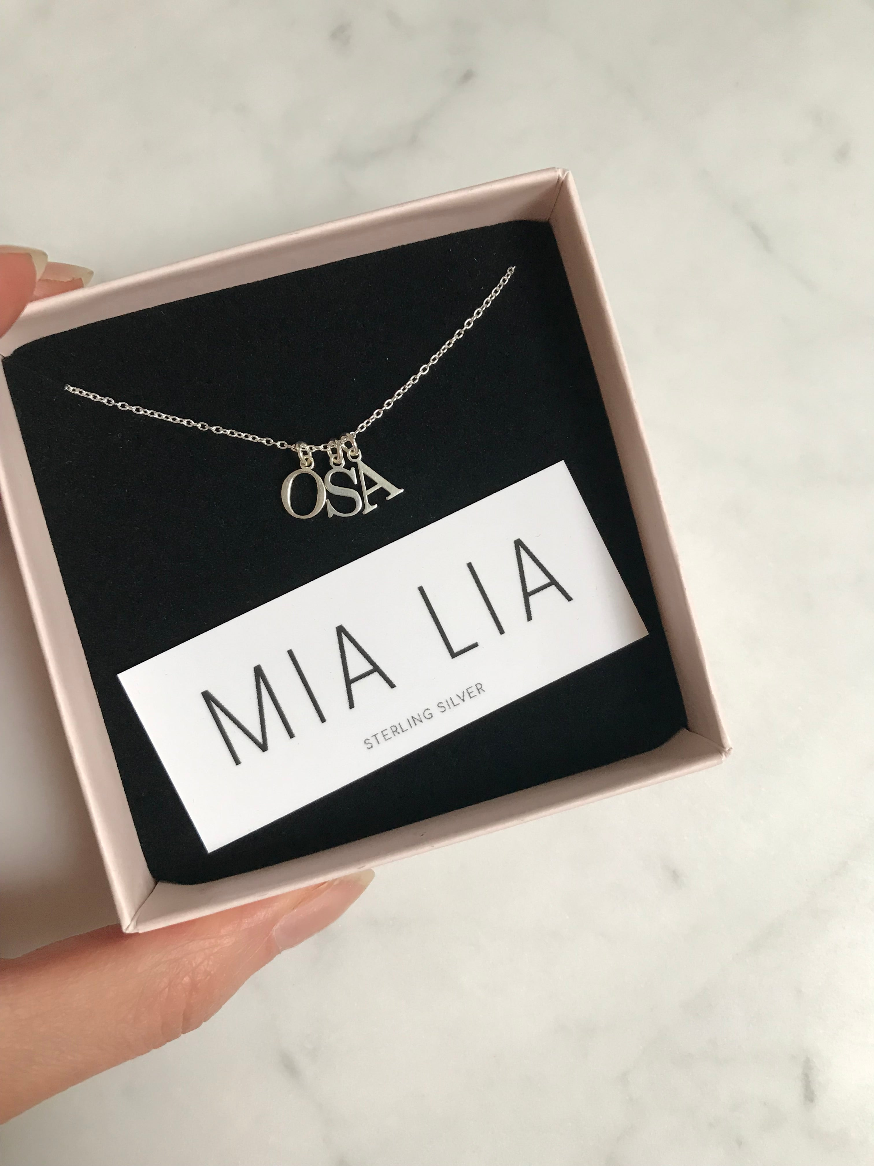 Silver Initial Pendants Necklace