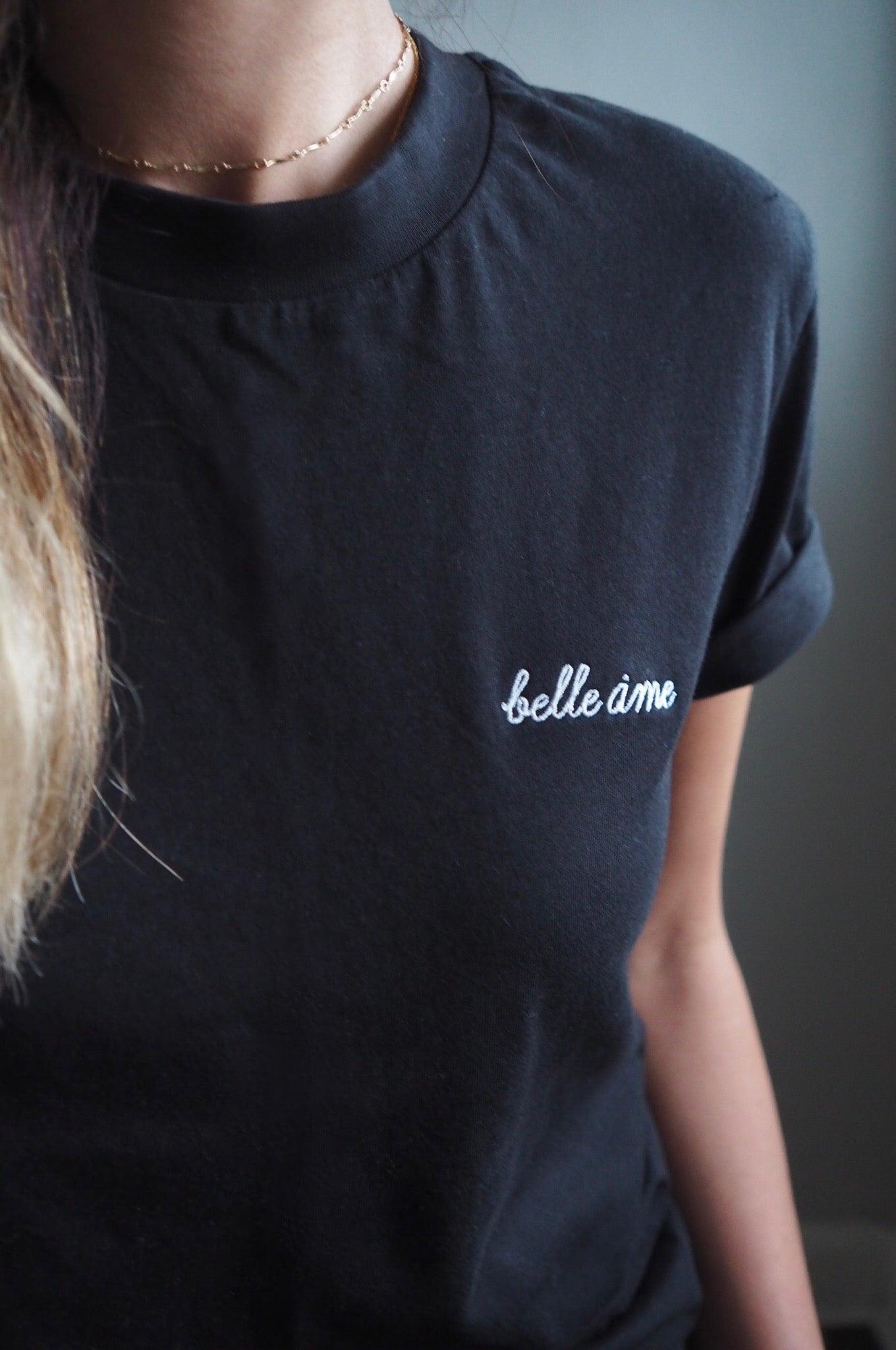 Black Belle Ame ♡ Embroidered Tee