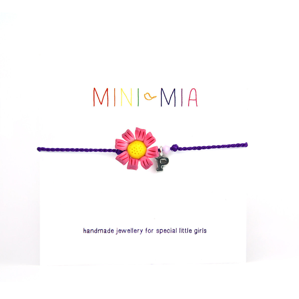 Childrens Initial Friendship Bracelet - Flower