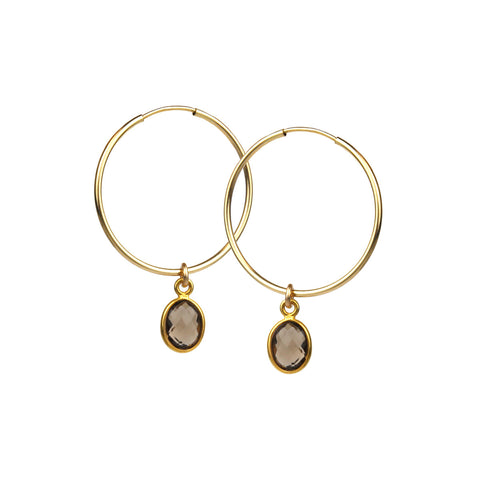 Smoky Quartz Gem Gold Hoop Earrings