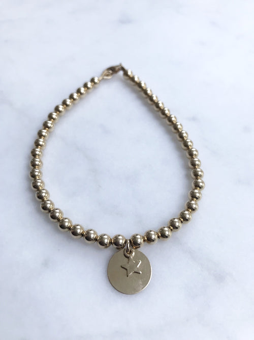 Gold Disc Tag Keepsake Bracelet