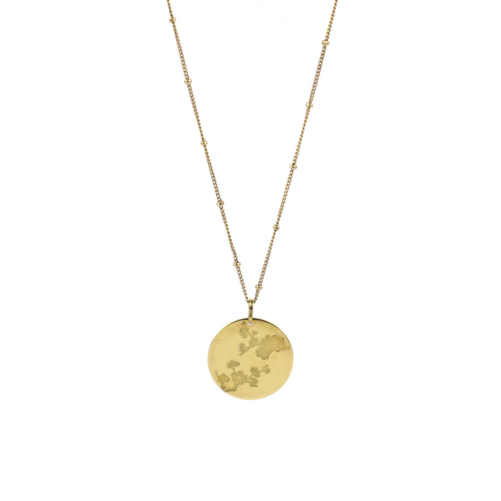 Cherry Blossom Disc Necklace