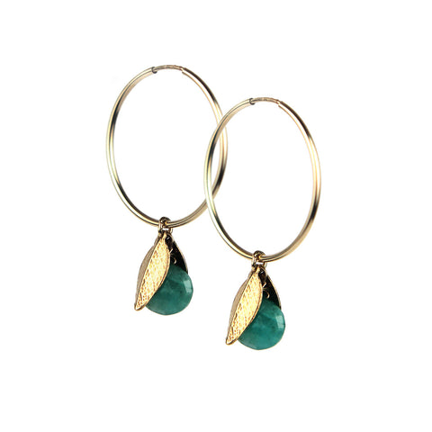 Amazonite Drop Hoop Earrings