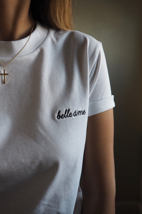 White Belle Ame ♡ Embroidered Tee