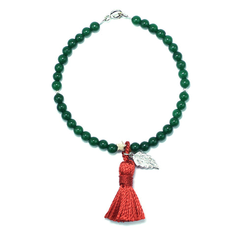 Jade Tassel Keepsake Bracelet - Silver Feather