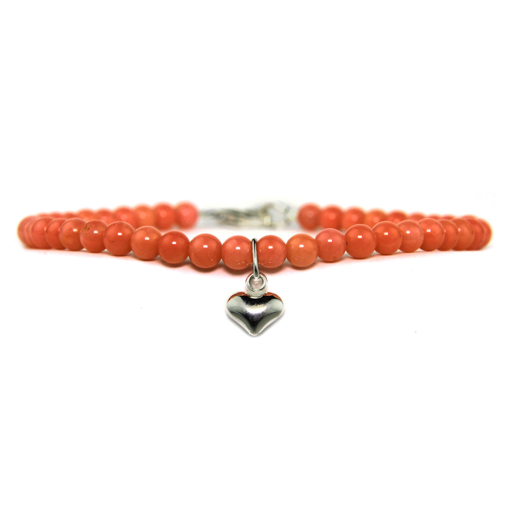 Mini Heart Keepsake Bracelet - Pink Coral
