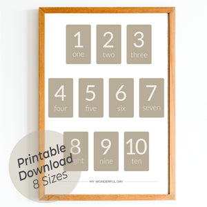 Numbers 1 to 10 - Beige (Cards)