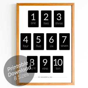 Numbers 1 to 10 - Black (Cards)