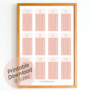 Times Tables 1 to 12 - Blush