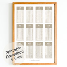 Load image into Gallery viewer, Times Tables 1 to 12 - Beige