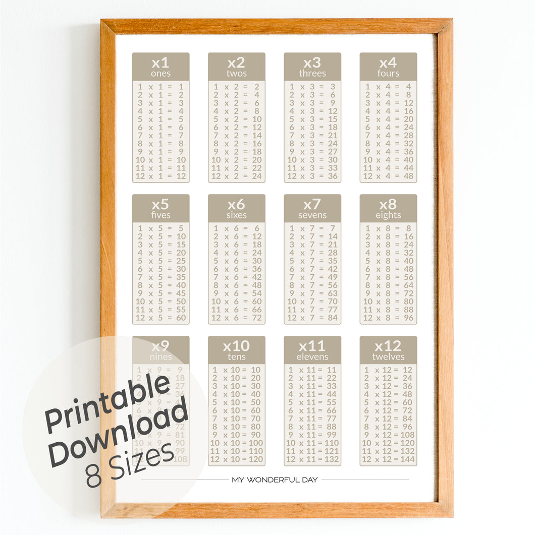 Times Tables 1 to 12 - Beige