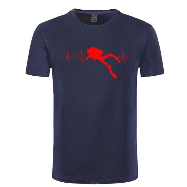 T-Shirt Men: Scuba Dive Heart Beat