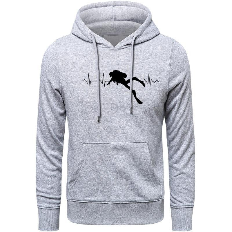 Hoodie Men: Scuba Dive Heart Beat