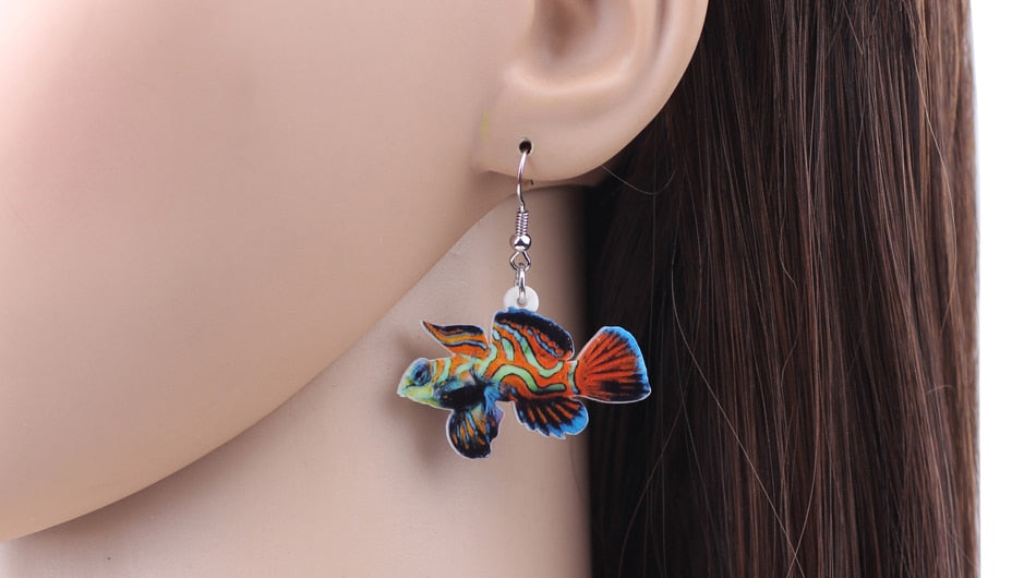 WEVENI New Acrylic Drop Dangle Green Mandarin Fish Earrings