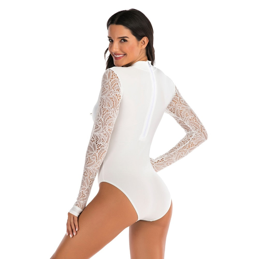Women Rashguard Long Sleeve: Sexy White