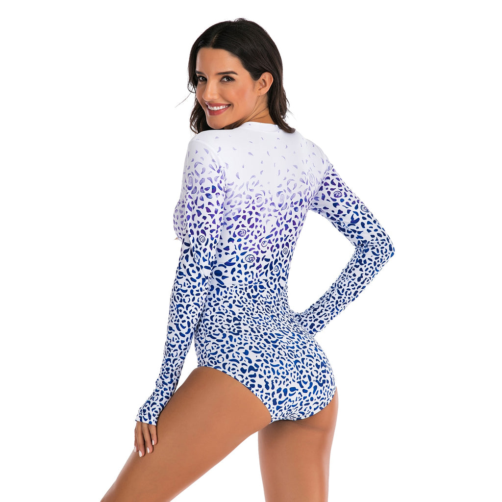 Rashguard Women Long Sleeve: White & Blue