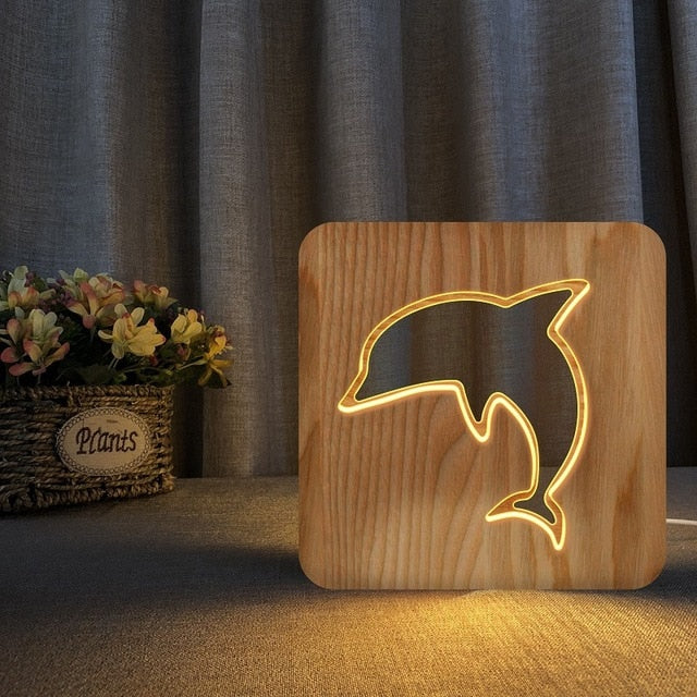 3D LED Wooden Night Lamp - Sharks & Dolphins