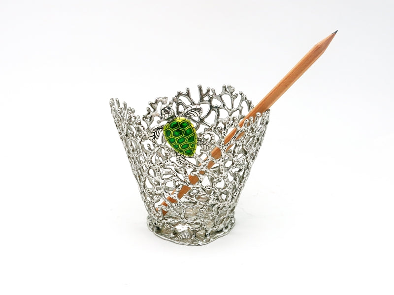 Silver Pen Holder: Coral & Turtle