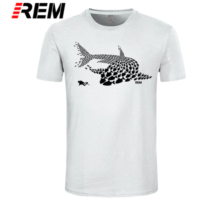 T-Shirt Men: Fish & Scuba Diver - various colours
