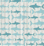 Window Curtain: Blue Sharks