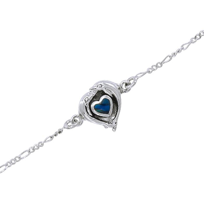 Peter Stone Heart Dolphin Silver Anklet