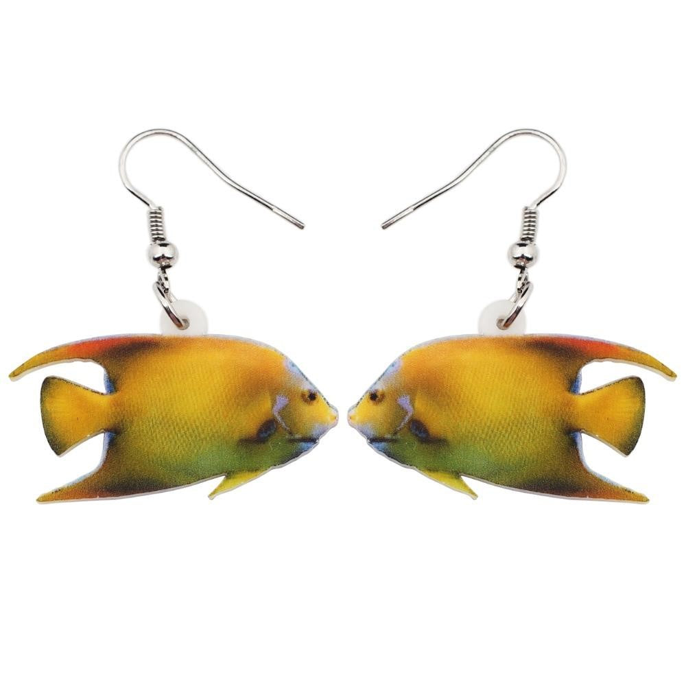 WEVENI Acrylic Queen Angelfish Fish Earrings
