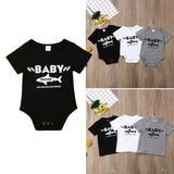 Baby Romper & Shirt with sharks: short sleeve