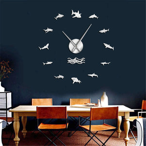 Large Wall Clock: Ocean Sharks - black or silver